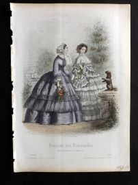 Journal des Demoiselles C1850 Antique Hand Col Fashion Print 34